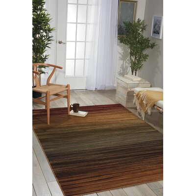 Machine Woven Brown/Green/Burgandy Area Rug Rug Size: 710 x 106