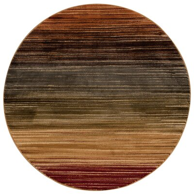 Margret Machine Woven Brown/Green/Burgandy Area Rug Rug Size: Round 53 x 53