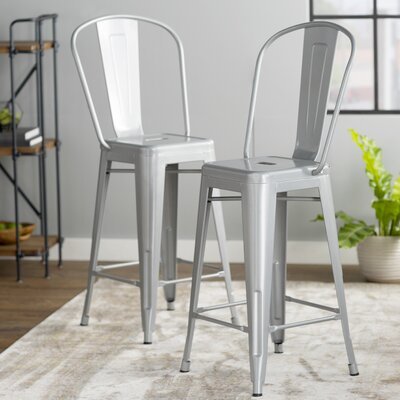 Louisa 26 Bar Stool Finish: Silver