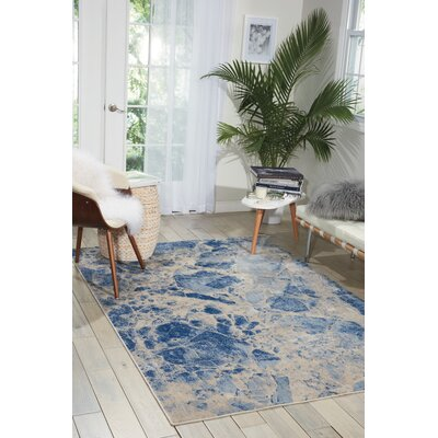 Isabela Blue Area Rug Rug Size: Rectangle 53 x 75