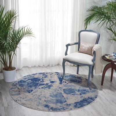 Isabela Blue Area Rug Rug Size: Round 56 x 56