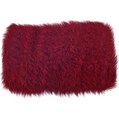 Becky Fur Lumbar Pillow Color: Red