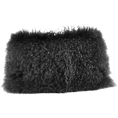Becky Fur Lumbar Pillow Color: Black