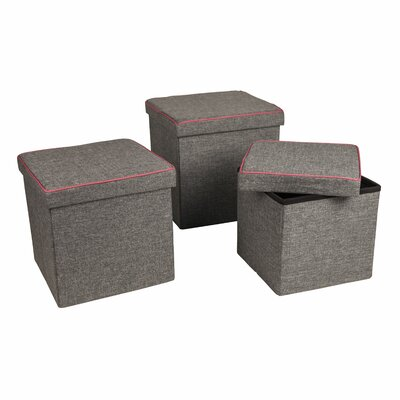 Marco 3 Piece Folding Storage Ottoman Set