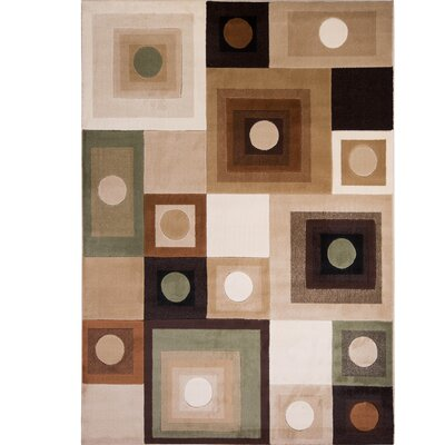 Nolan Brown/Green Area Rug Rug Size: 33 x 47