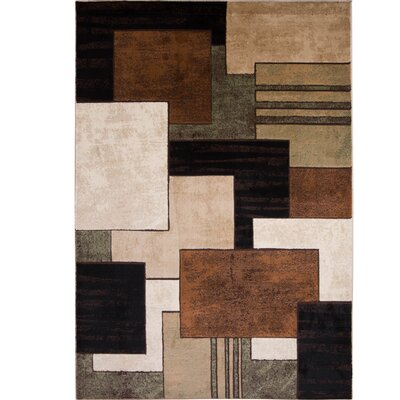 Nolan Brown/Green Area Rug Rug Size: 52 x 72