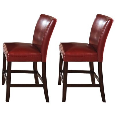 Fenley Bar Stool (Set of 2) Upholstery: Red