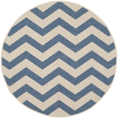 Estella Blue/Beige Indoor/Outdoor Area Rug Rug Size: Round 4