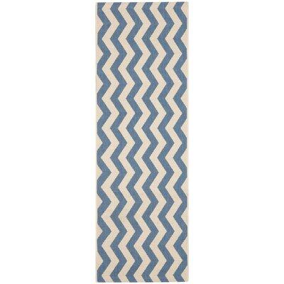Estella Blue/Beige Indoor/Outdoor Area Rug Rug Size: Runner 27 x 5
