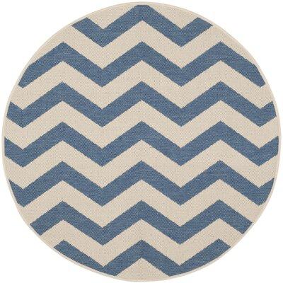 Estella Blue/Beige Indoor/Outdoor Area Rug Rug Size: Round 53