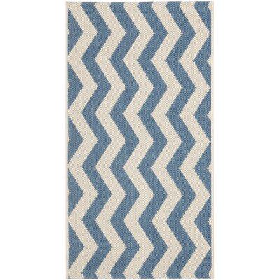 Estella Blue/Beige Indoor/Outdoor Area Rug Rug Size: 4 x 57