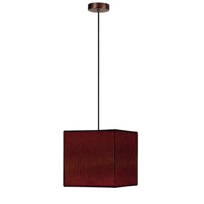 Joann 1-Light Square Pendant Finish: Oil Brushed Bronze, Shade Color: Brown