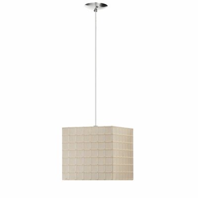 Joann 1-Light Square Pendant Finish: Polished Chrome, Shade Color: Beige Linen