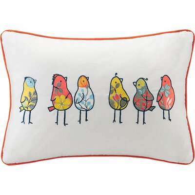 Jana Birds Embroidered Cotton Lumbar Pillow