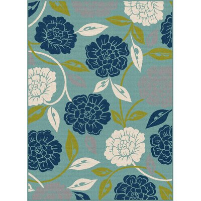 Mathis Aqua Indoor / Outdoor Area Rug Rug Size: 53 x 73