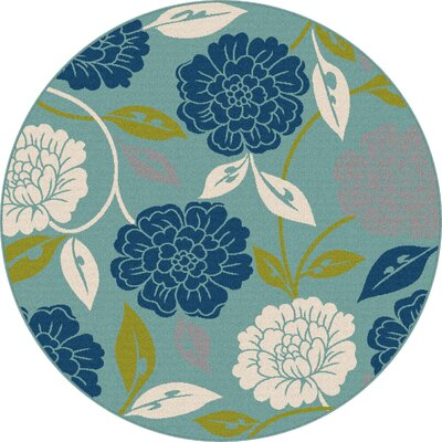 Mathis Aqua Indoor / Outdoor Area Rug Rug Size: Round 710
