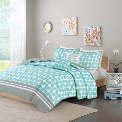 Young Coverlet Set Color: Aqua, Size: Full / Queen