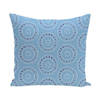 Flo Floral Print Throw Pillow Size: 16 H x 16 W x 1 D, Color: Sky