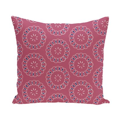 Flo Floral Print Throw Pillow Size: 16 H x 16 W x 1 D, Color: Pink Cheeks