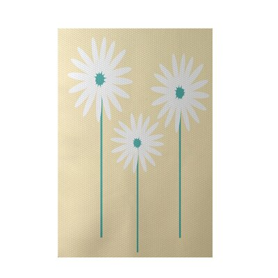Omar Floral Print Soft Yellow Indoor/Outdoor Area Rug Rug Size: 2 x 3