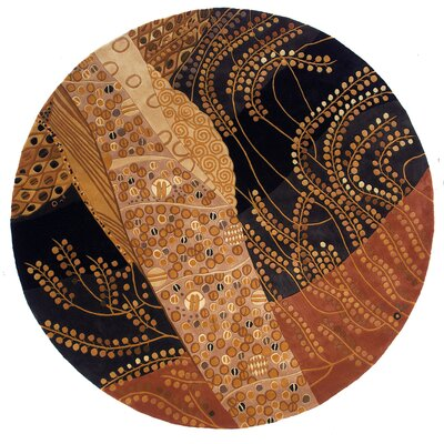 Zed Hand-Tufted Brown/Black Area Rug Rug Size: Round 59