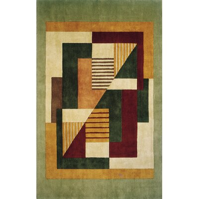 Zed Hand-Tufted Green/Beige Area Rug Rug Size: 96 x 136