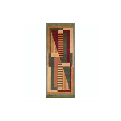 Zed Hand-Tufted Green/Beige Area Rug Rug Size: Runner 26 x 8