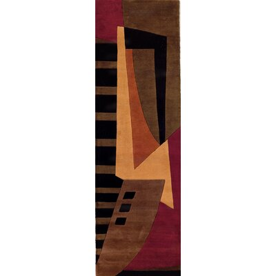 Zed Pomegranate Hand-Tufted Brown Area Rug Rug Size: Runner 26 x 12