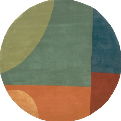 Zed Hand-Tufted Green Area Rug Rug Size: Round 59
