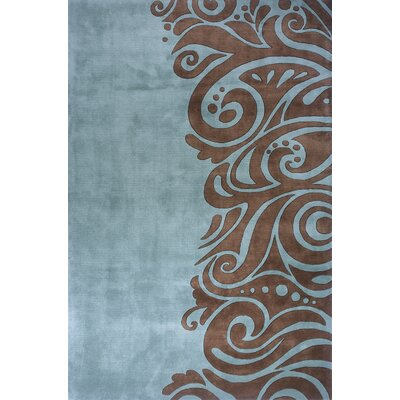 Zed Hand-Tufted Turquoise/Brown Area Rug Rug Size: 36 x 56