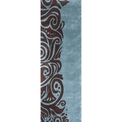 Zed Hand-Tufted Turquoise/Brown Area Rug Rug Size: Runner 26 x 8