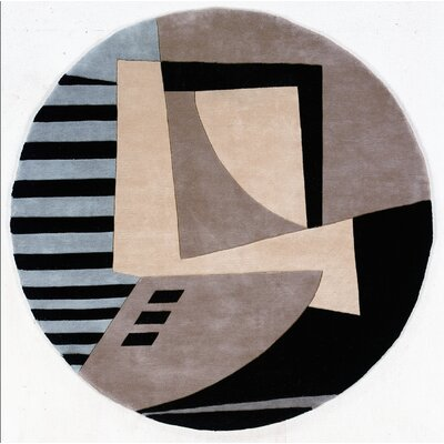 Zed Hand-Tufted Black/Gray Area Rug Rug Size: Round 59