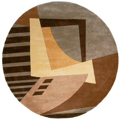 Zed Hand-Tufted Light Brown Area Rug Rug Size: Round 59