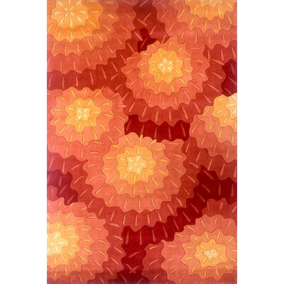 Zed Hand-Tufted Orange Area Rug Rug Size: 96 x 136
