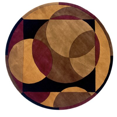 Zed Hand-Tufted Brown Area Rug Rug Size: Round 59
