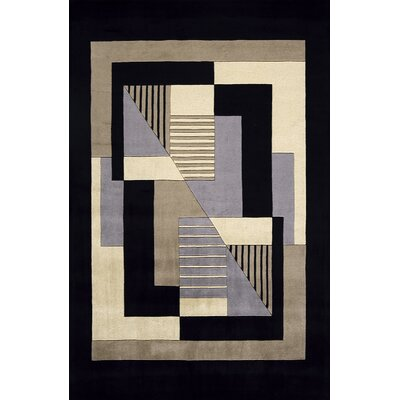 Zed Hand-Tufted Black/Gray Area Rug Rug Size: 36 x 56