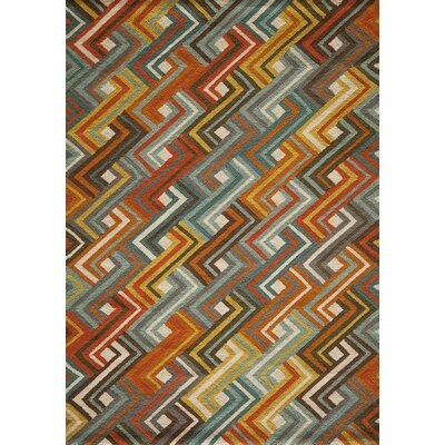 Jaime Hooked Blue/Orange Area Rug Rug Size: 36 x 56