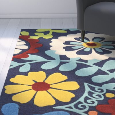 Beaded Hand-Tufted Yellow/Blue/Beige Area Rug Rug Size: 110 x 210