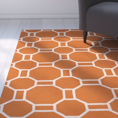 June Hand-Tufted Orange Indoor/Outdoor Area Rug Size: Round 8