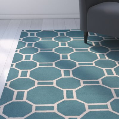 June Hand-Tufted Teal Indoor/Outdoor Area Rug Size: Round 8