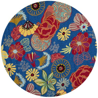 Hayes Hand-hooked Outdoor Area Rug Rug Size: Round 4