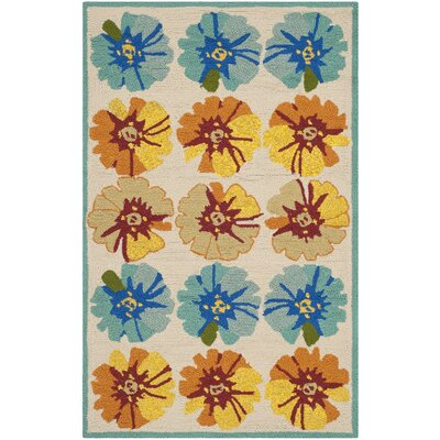 Hayes Orange/Blue Outdoor Area Rug Rug Size: Rectangle 26 x 4