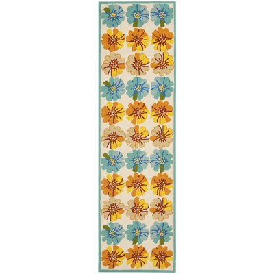 Hayes Orange/Blue Outdoor Area Rug Rug Size: Runner 23 x 6