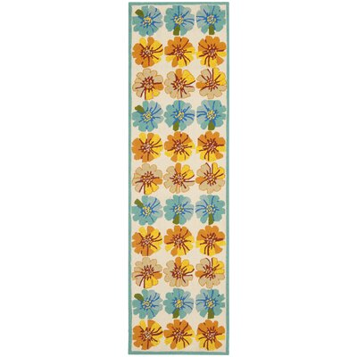 Hayes Orange/Blue Outdoor Area Rug Rug Size: Runner 23 x 8