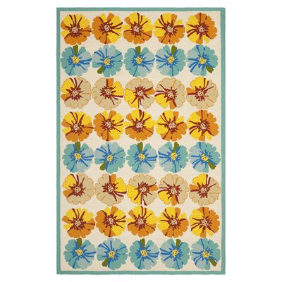 Stacy Orange/Blue Outdoor Area Rug Rug Size: 36 x 56