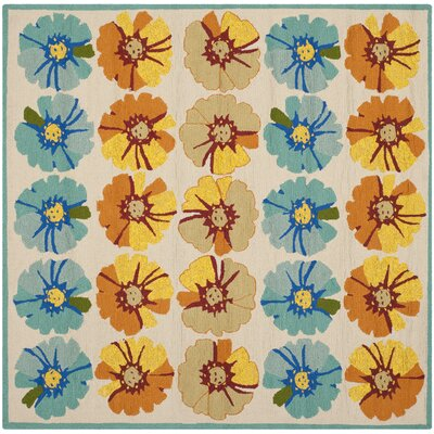 Hayes Orange/Blue Outdoor Area Rug Rug Size: Square 6