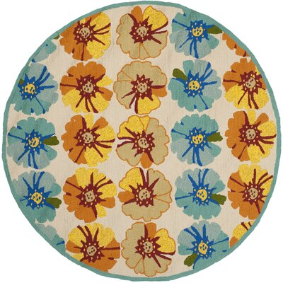 Hayes Orange/Blue Outdoor Area Rug Rug Size: Round 6