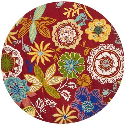 Stacy Floral Indoor/Outdoor Area Rug Rug Size: Round 6