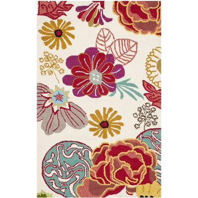 Stacy Ivory/Red Outdoor Area Rug Rug Size: 26 x 4