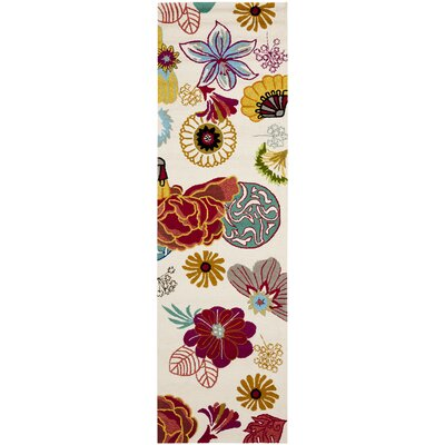 Hayes Ivory/Red Outdoor Area Rug Rug Size: Runner 23 x 6